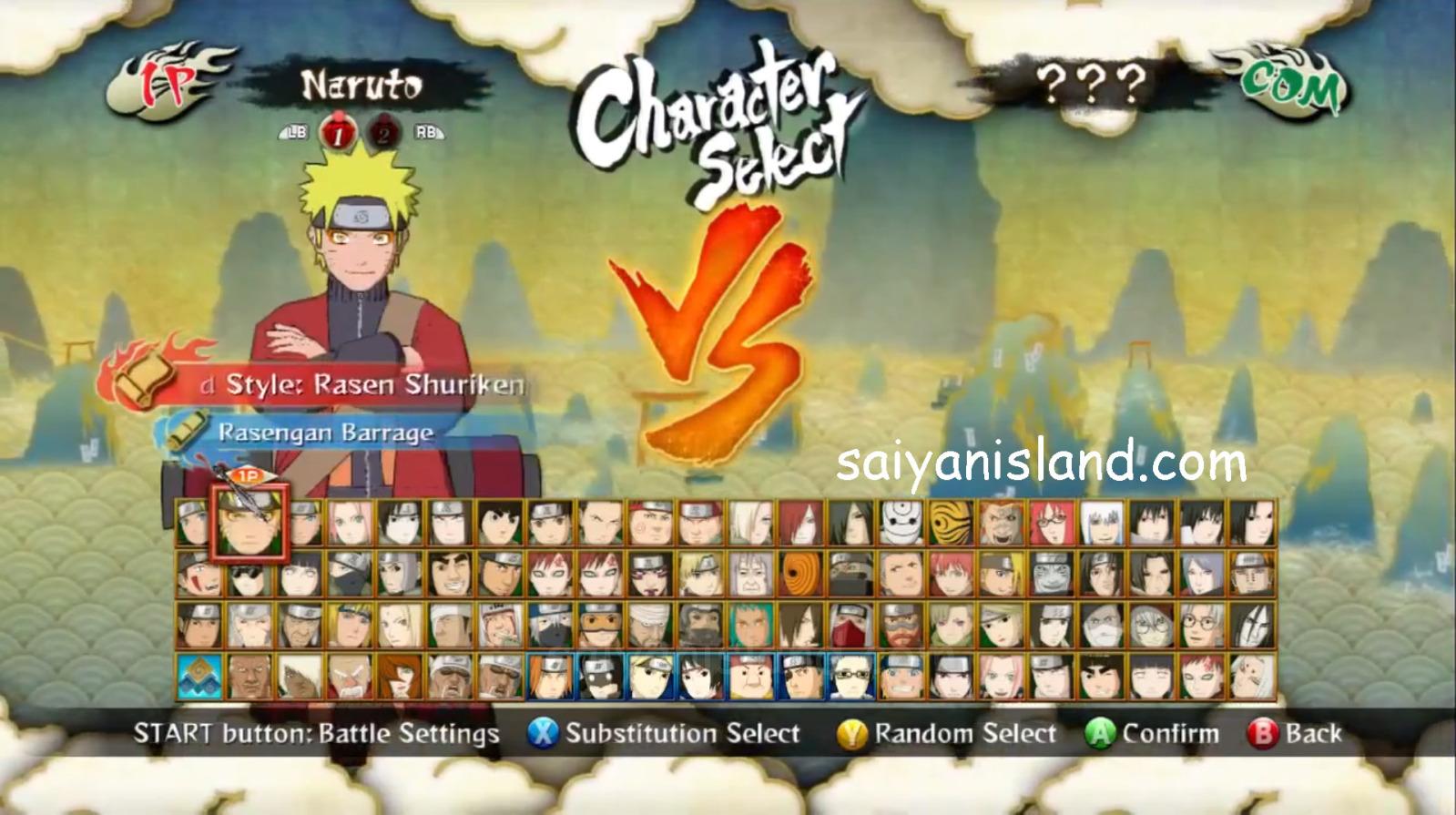 Liste des personnages de naruto shippuden ultimate ninja storm generation