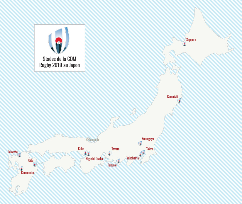 Carte Coupe du Monde rugby 2019 au Japon